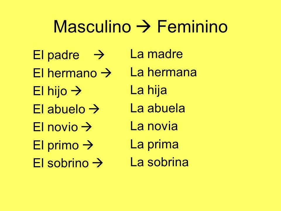 Masculino  Feminino La madre El padre  La hermana El hermano 