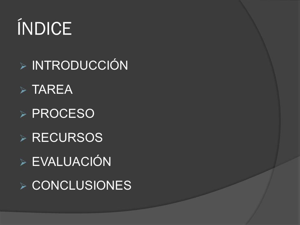 ÍNDICE INTRODUCCIÓN TAREA PROCESO RECURSOS EVALUACIÓN CONCLUSIONES