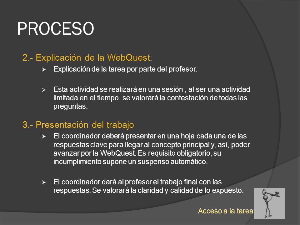 PROCESO 2.- Explicación de la WebQuest: 3.- Presentación del trabajo