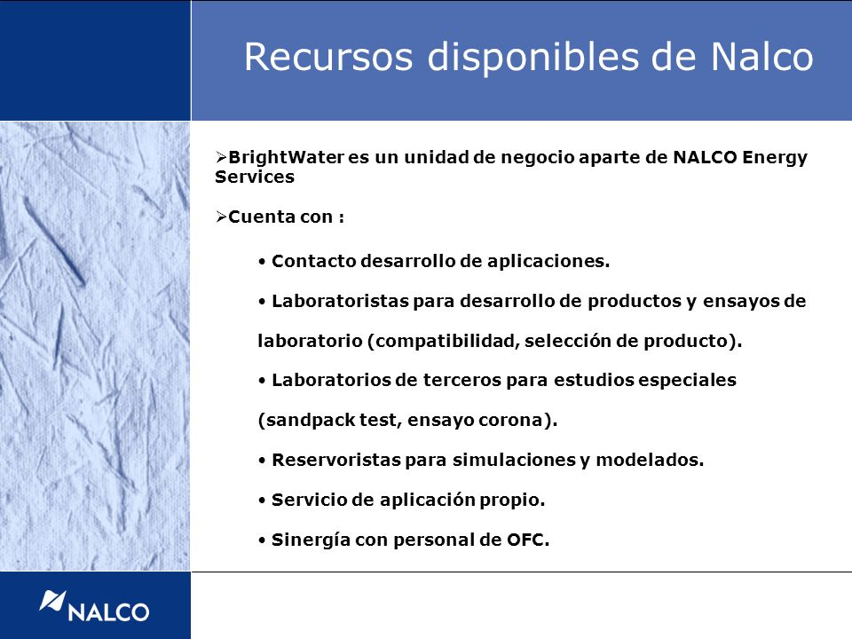 Recursos disponibles de Nalco