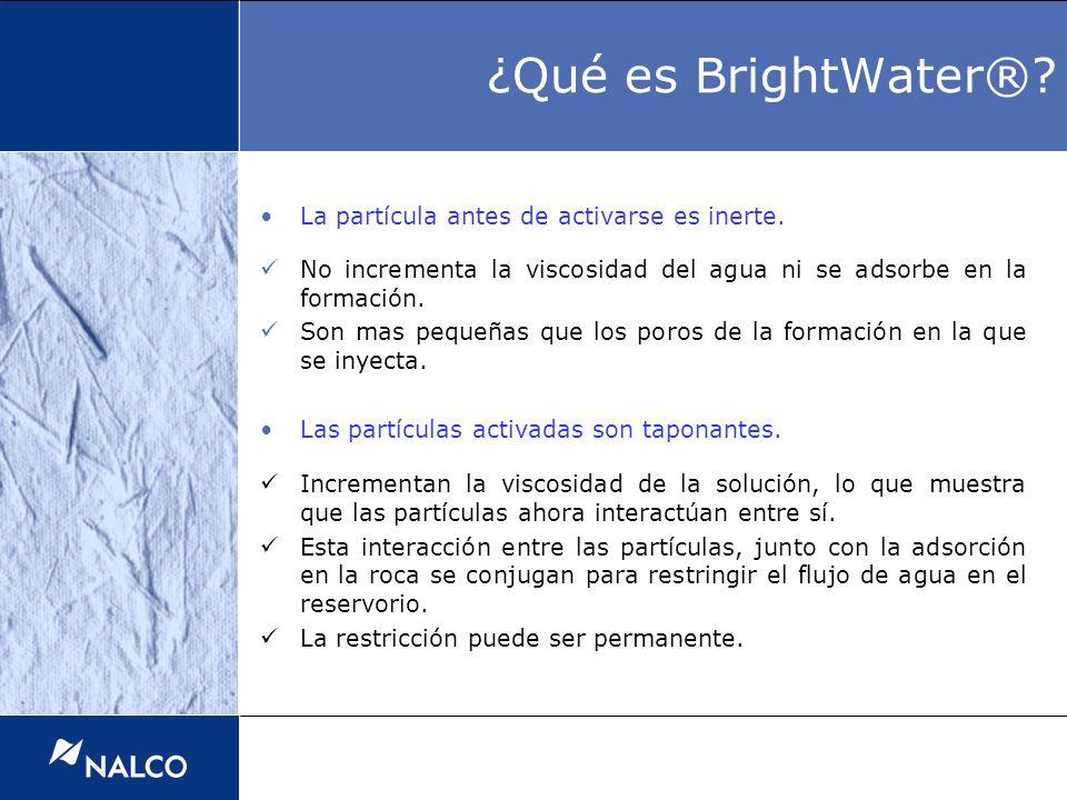 ¿Qué es BrightWater® La partícula antes de activarse es inerte.