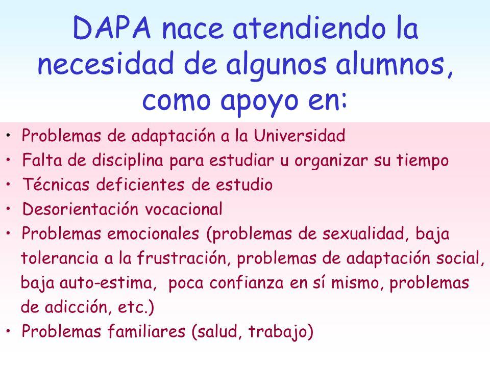 DAPA nace atendiendo la necesidad de algunos alumnos, como apoyo en: