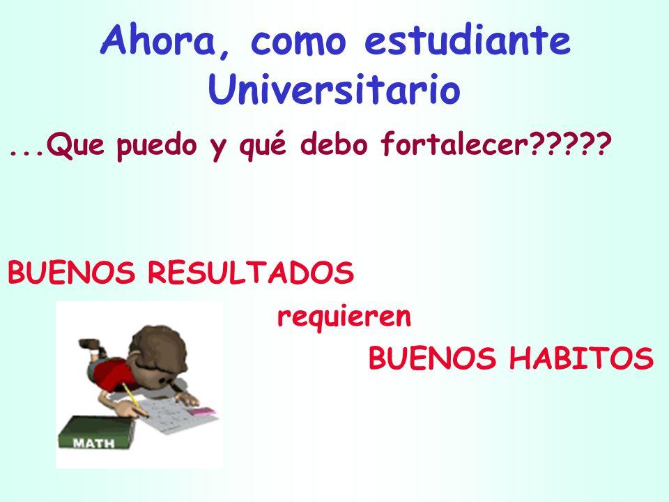 Ahora, como estudiante Universitario