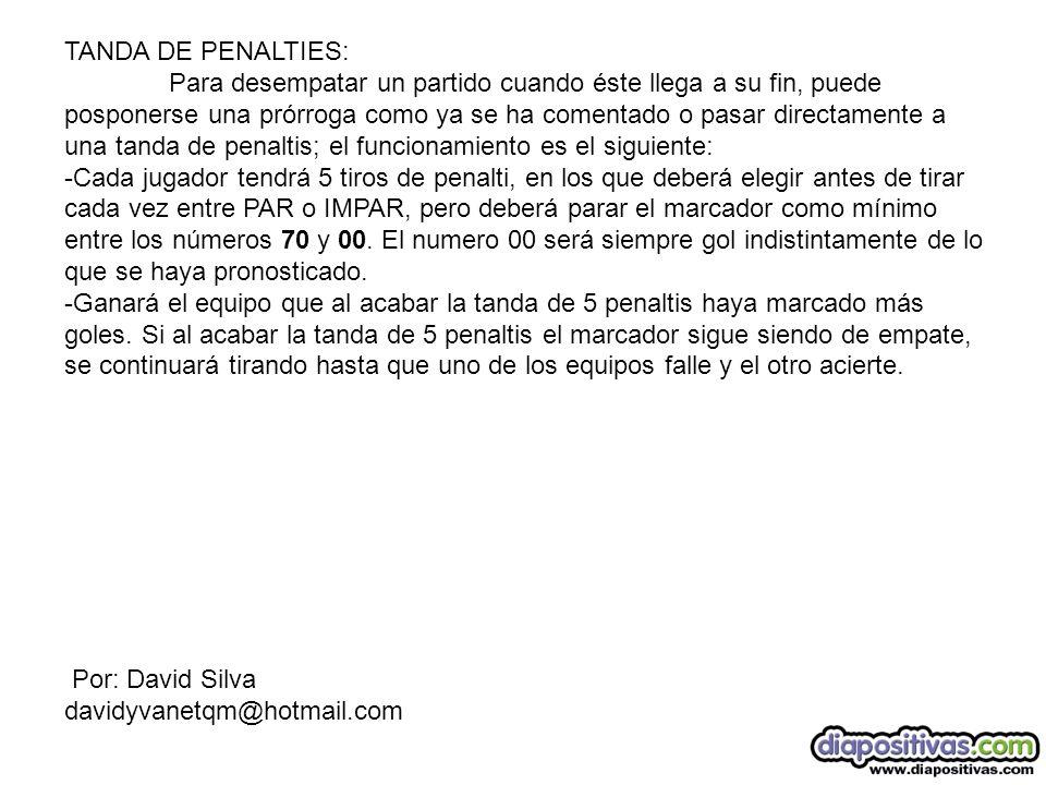 TANDA DE PENALTIES: