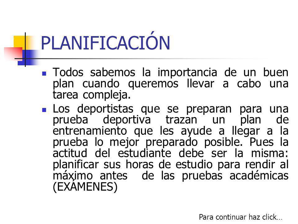 PLANIFICACIÓN Todos sabemos la importancia de un buen plan cuando queremos llevar a cabo una tarea compleja.
