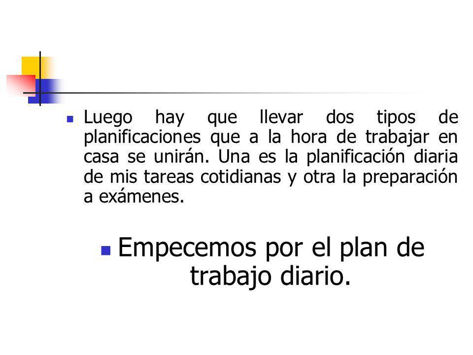 Empecemos por el plan de trabajo diario.