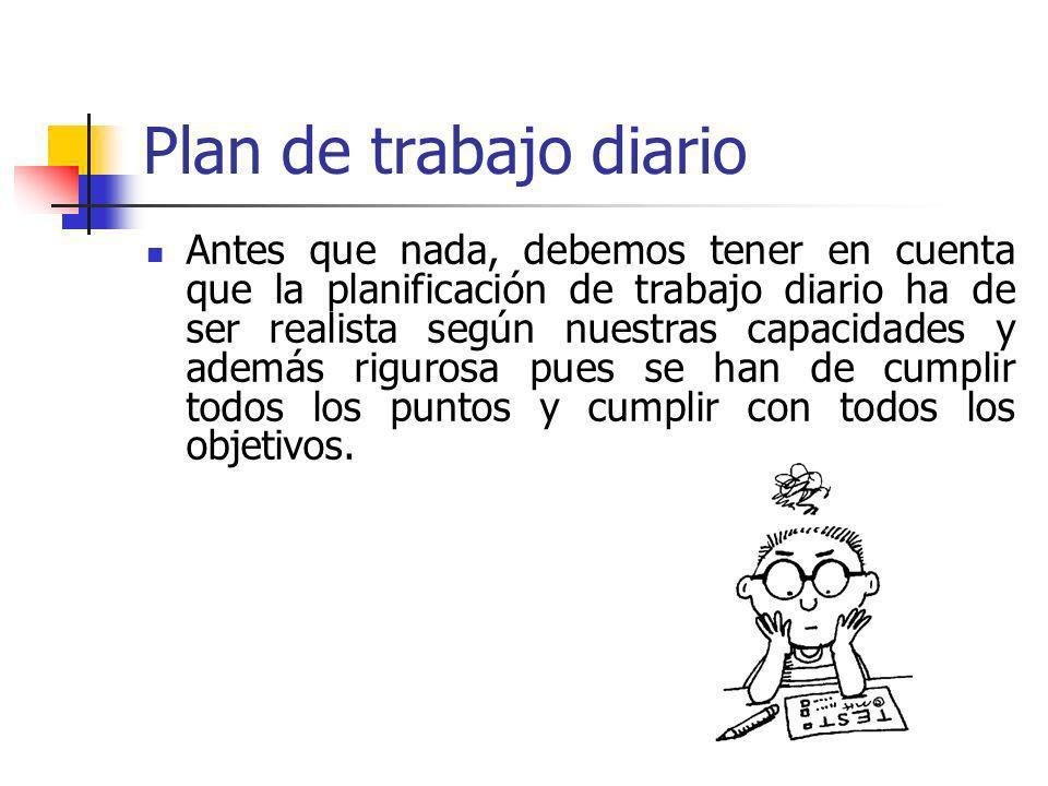 Plan de trabajo diario