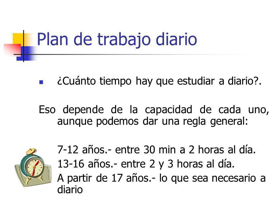 Plan de trabajo diario ¿Cuánto tiempo hay que estudiar a diario .