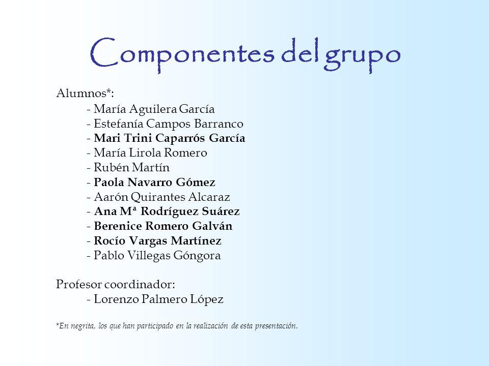 Componentes del grupo Alumnos*: - María Aguilera García