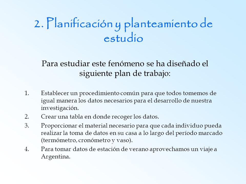 2. Planificación y planteamiento de estudio