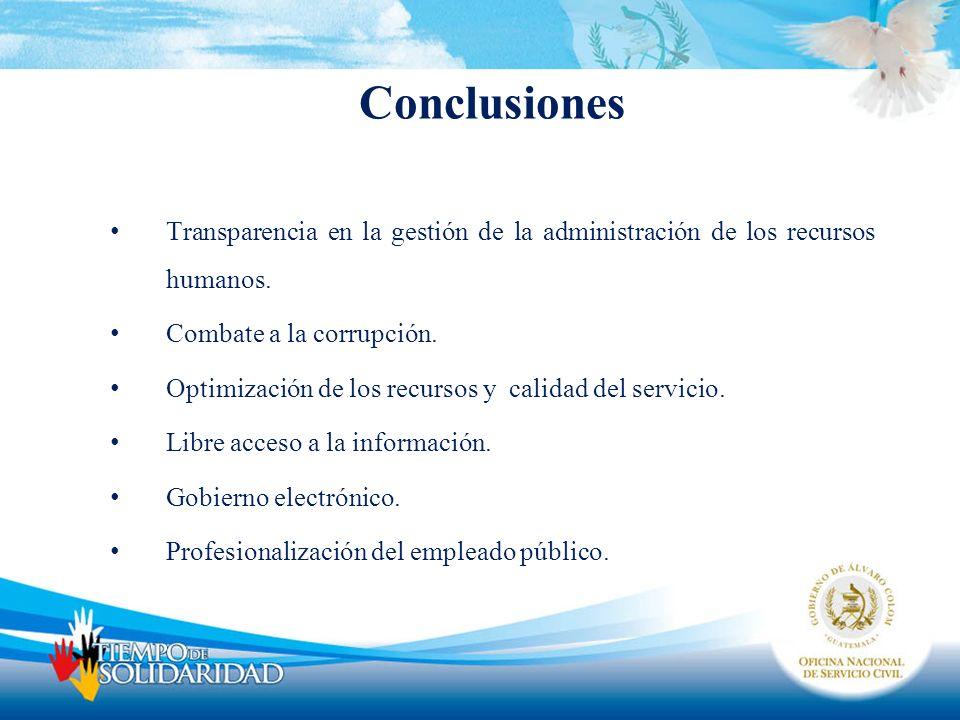 Conclusiones Transparencia en la gestión de la administración de los recursos humanos. Combate a la corrupción.