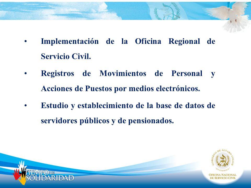 Implementación de la Oficina Regional de Servicio Civil.
