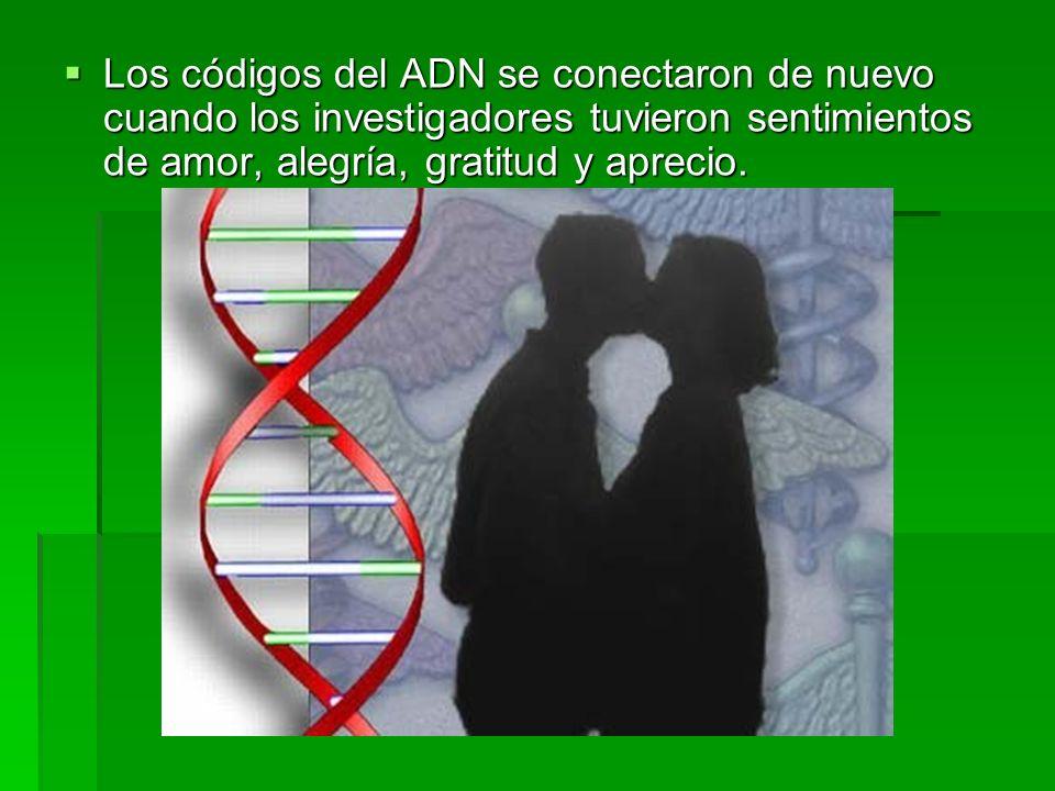 Los códigos del ADN se conectaron de nuevo cuando los investigadores tuvieron sentimientos de amor, alegría, gratitud y aprecio.