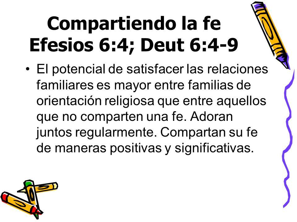 Compartiendo la fe Efesios 6:4; Deut 6:4-9
