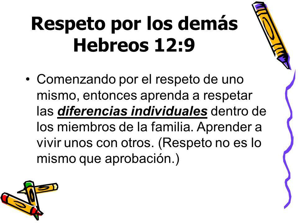 Respeto por los demás Hebreos 12:9