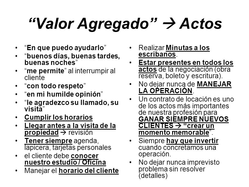 Valor Agregado  Actos