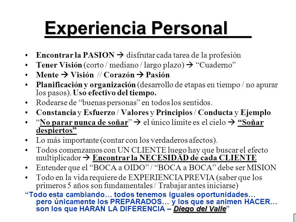 Experiencia Personal Encontrar la PASION  disfrutar cada tarea de la profesión. Tener Visión (corto / mediano / largo plazo)  Cuaderno