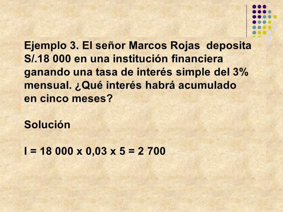 Ejemplo 3. El señor Marcos Rojas deposita