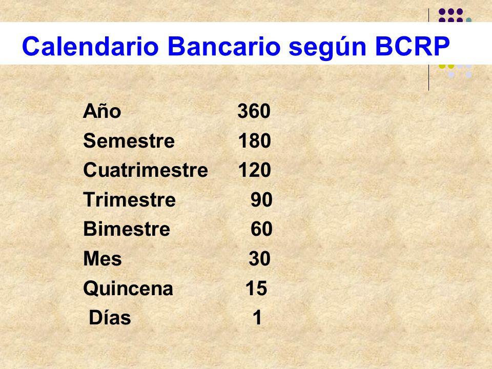 Calendario Bancario según BCRP