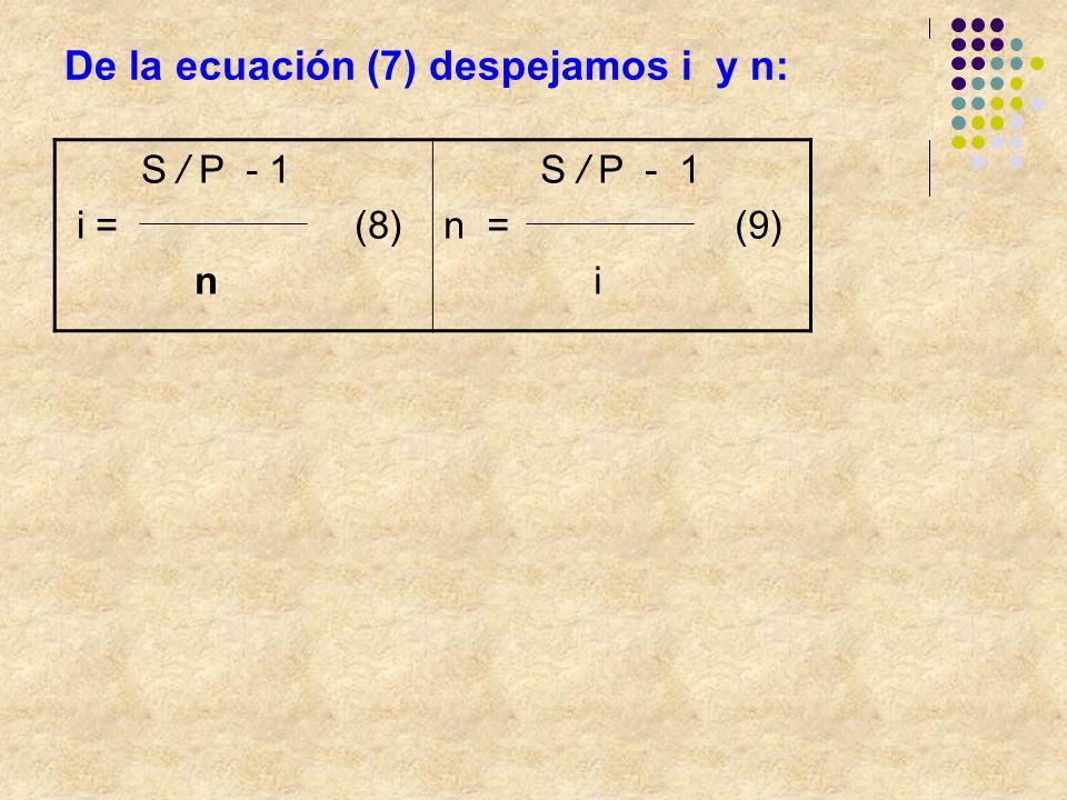 De la ecuación (7) despejamos i y n: