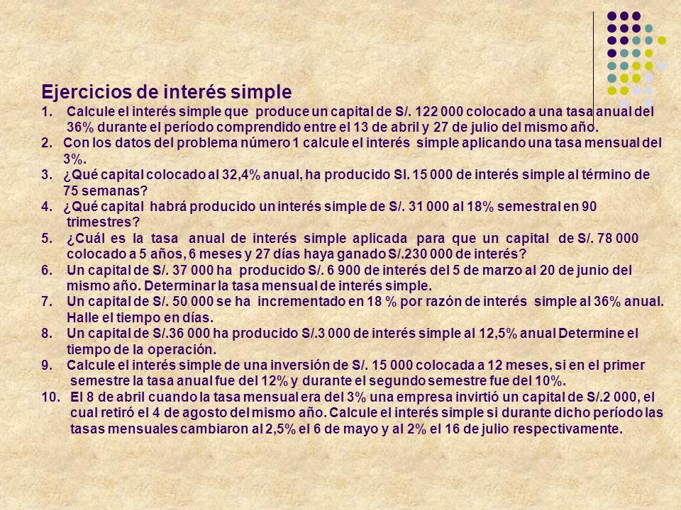 Ejercicios de interés simple 1