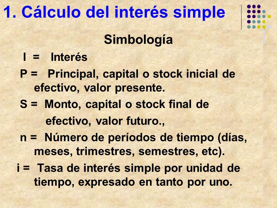1. Cálculo del interés simple