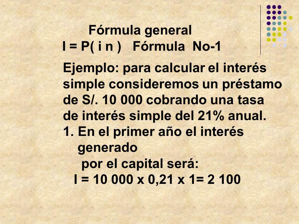 Fórmula general I = P( i n ) Fórmula No-1. Ejemplo: para calcular el interés. simple consideremos un préstamo.