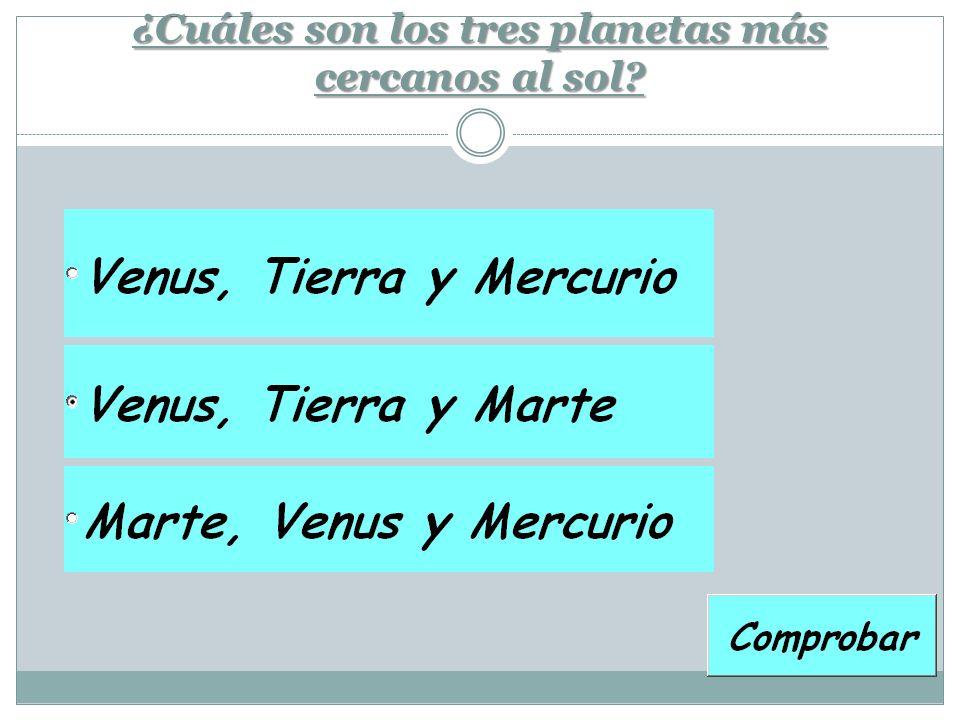 ¿Cuáles son los tres planetas más cercanos al sol