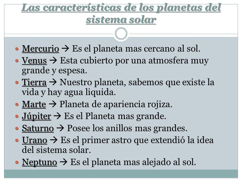 Las características de los planetas del sistema solar