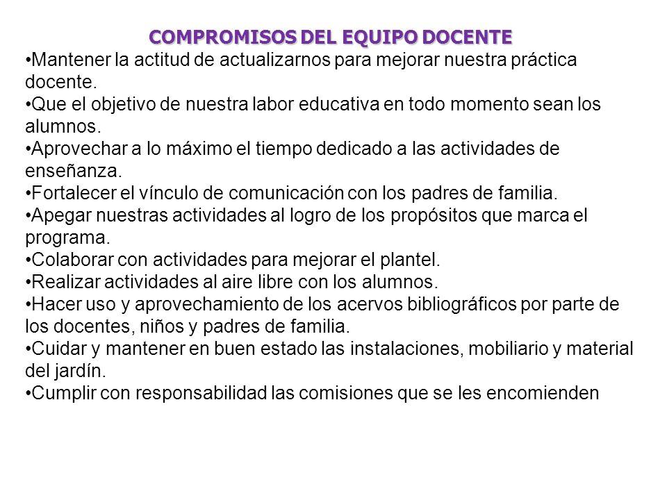 COMPROMISOS DEL EQUIPO DOCENTE