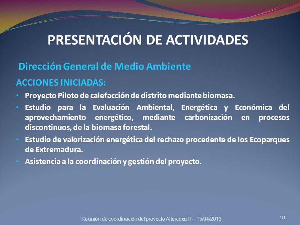 PRESENTACIÓN DE ACTIVIDADES