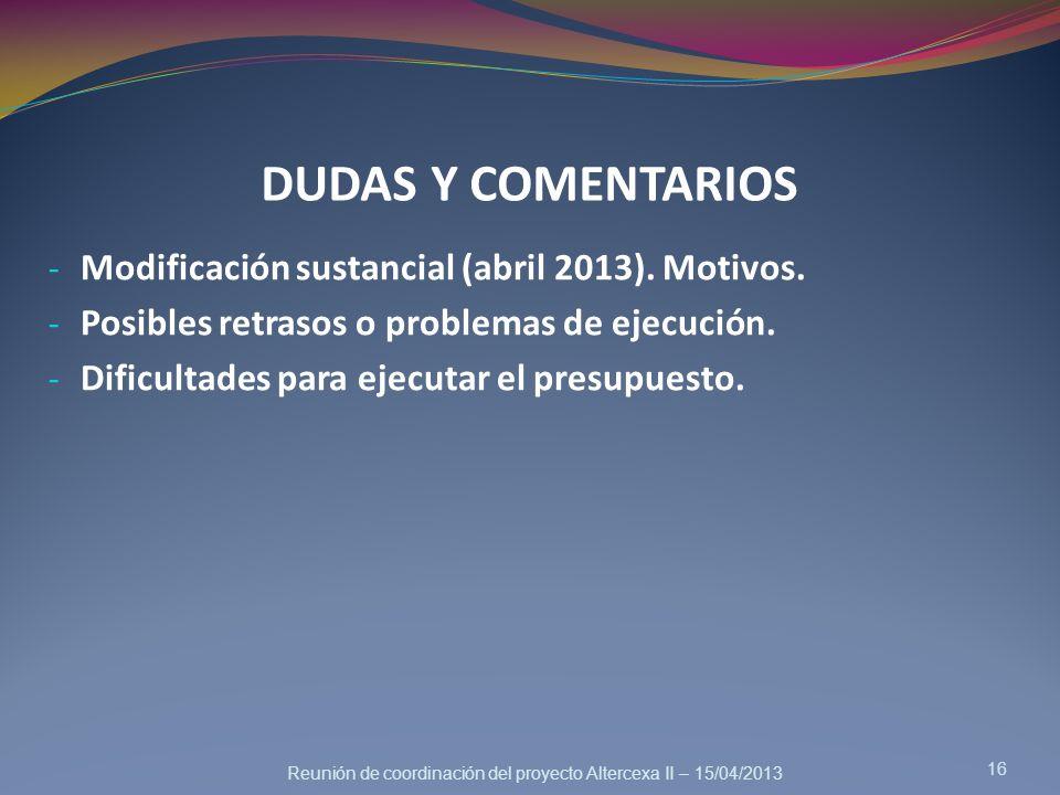DUDAS Y COMENTARIOS Modificación sustancial (abril 2013). Motivos.