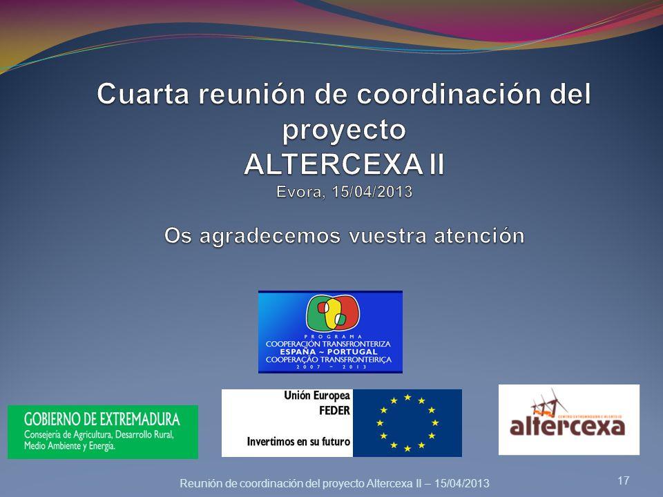 Cuarta reunión de coordinación del proyecto ALTERCEXA II Evora, 15/04/2013 Os agradecemos vuestra atención