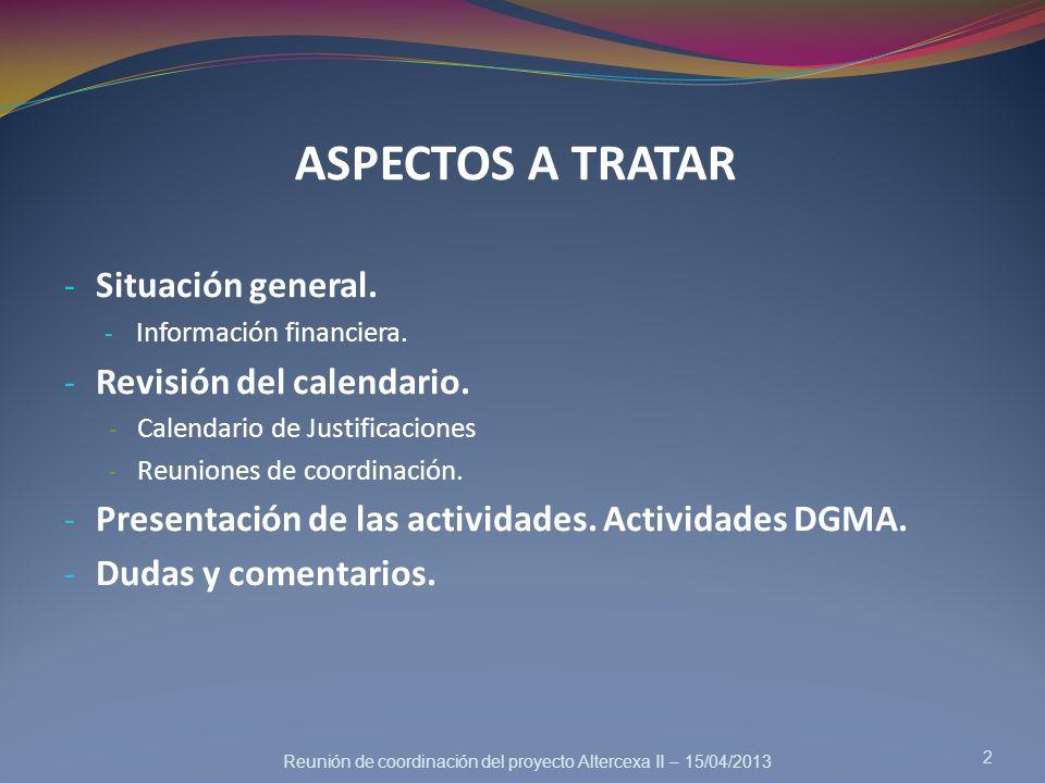 ASPECTOS A TRATAR Situación general. Revisión del calendario.