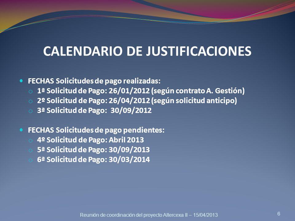 CALENDARIO DE JUSTIFICACIONES