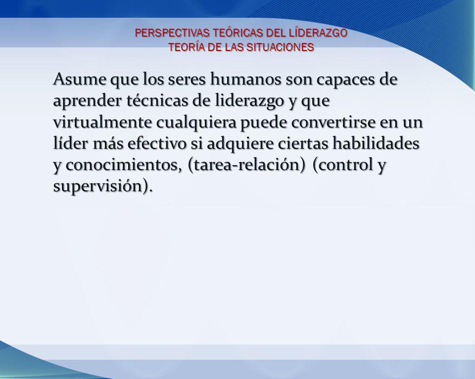 PERSPECTIVAS TEÓRICAS DEL LÍDERAZGO TEORÍA DE LAS SITUACIONES