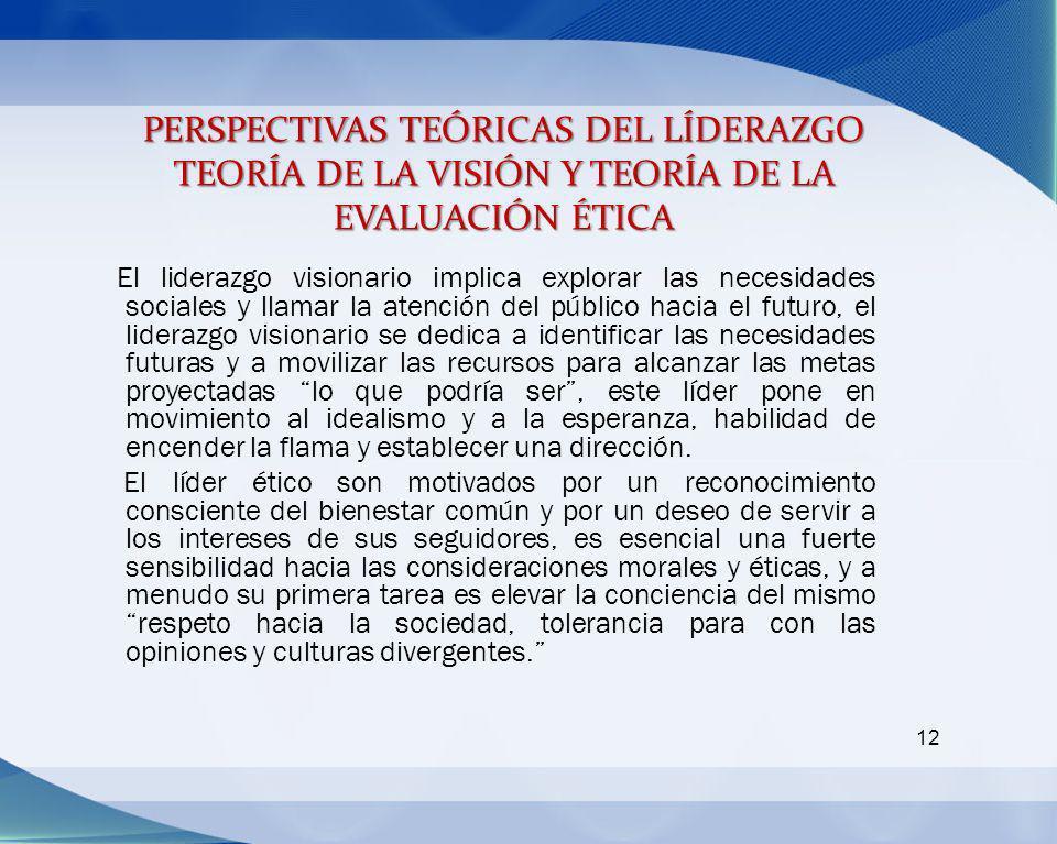 PERSPECTIVAS TEÓRICAS DEL LÍDERAZGO TEORÍA DE LA VISIÓN Y TEORÍA DE LA EVALUACIÓN ÉTICA