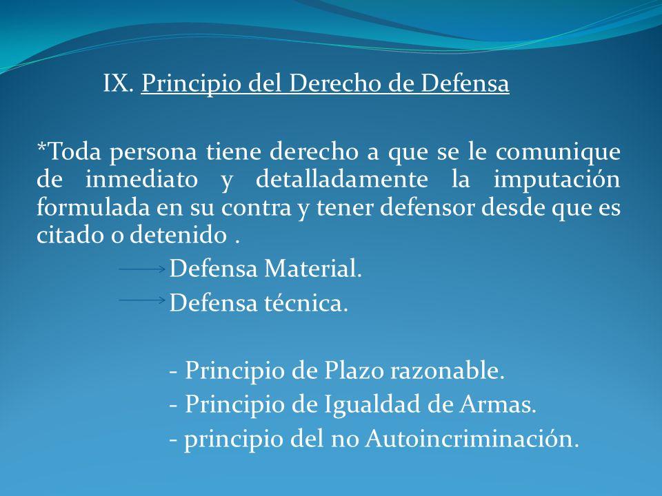 IX. Principio del Derecho de Defensa