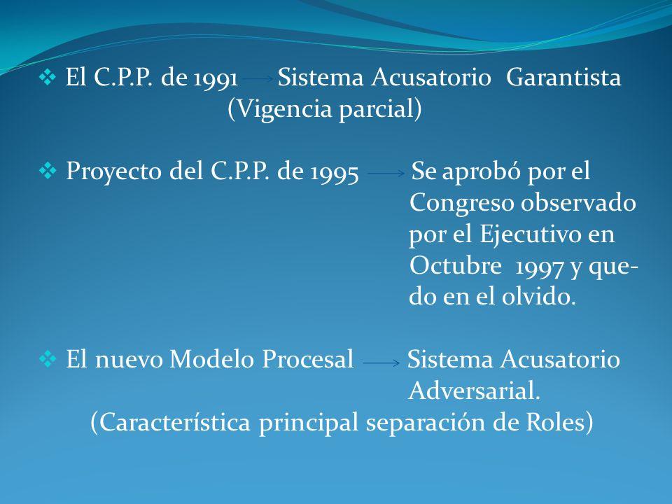 Proyecto del C.P.P. de 1995 Se aprobó por el Congreso observado