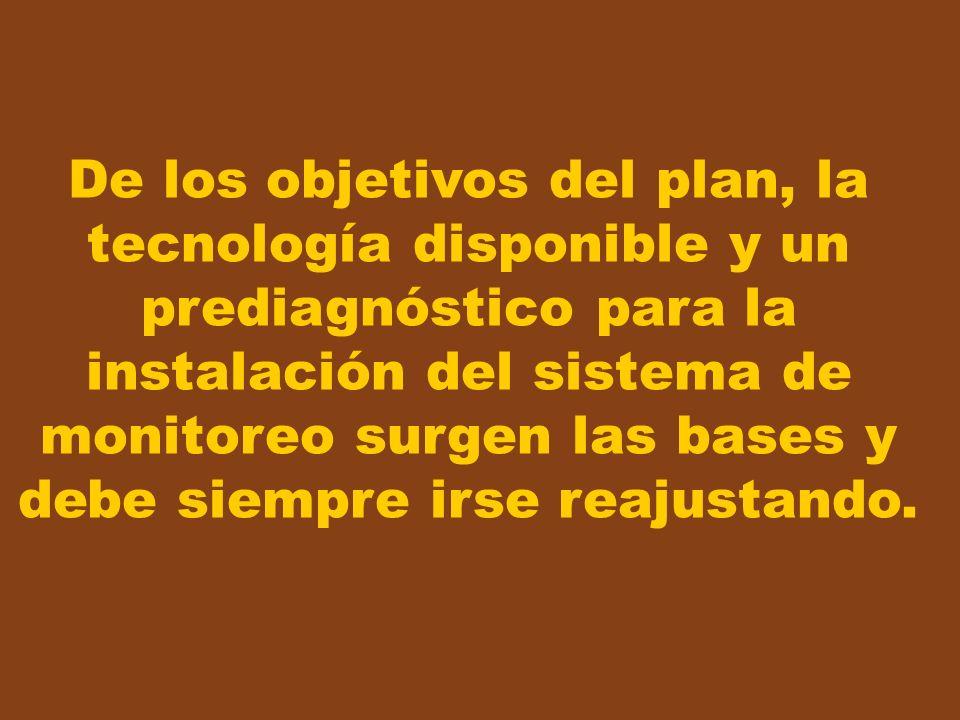 De los objetivos del plan, la tecnología disponible y un prediagnóstico para la instalación del sistema de monitoreo surgen las bases y debe siempre irse reajustando.
