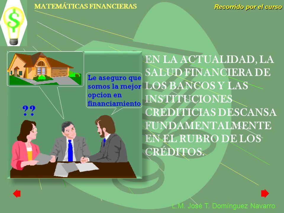 EN LA ACTUALIDAD, LA SALUD FINANCIERA DE LOS BANCOS Y LAS INSTITUCIONES CREDITICIAS DESCANSA FUNDAMENTALMENTE EN EL RUBRO DE LOS CRÉDITOS.
