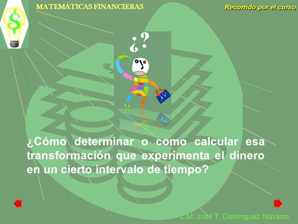 ¿Cómo determinar o como calcular esa transformación que experimenta el dinero en un cierto intervalo de tiempo