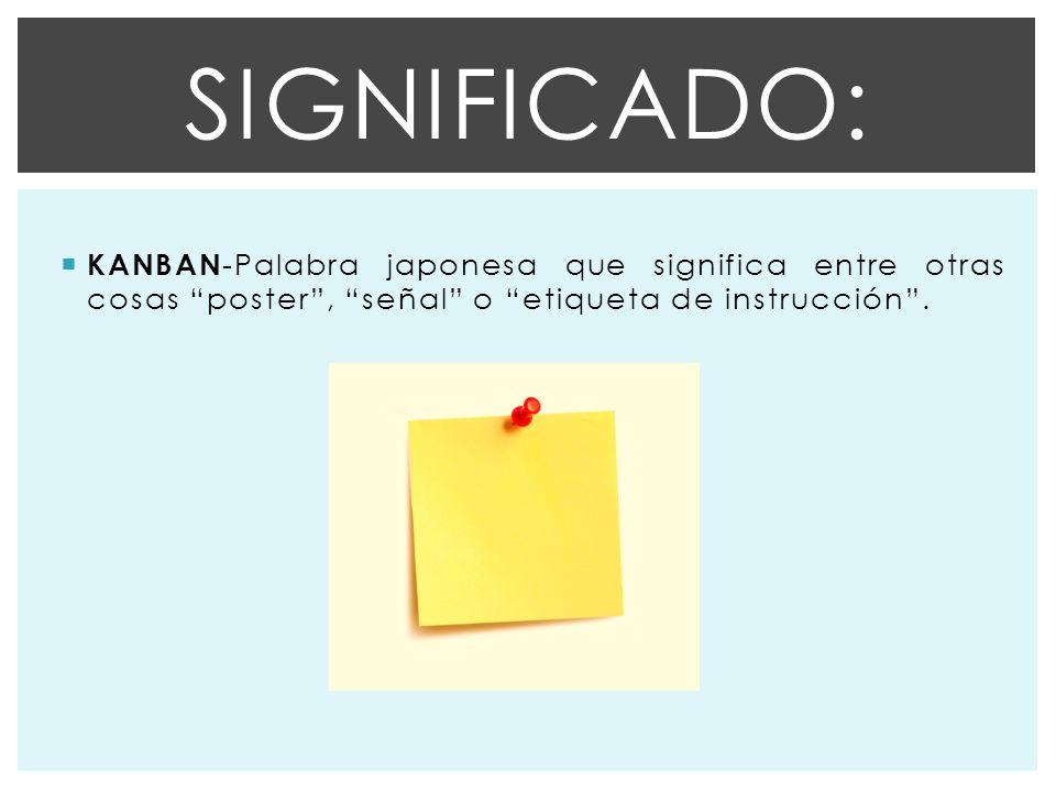 Significado: KANBAN-Palabra japonesa que significa entre otras cosas poster , señal o etiqueta de instrucción .
