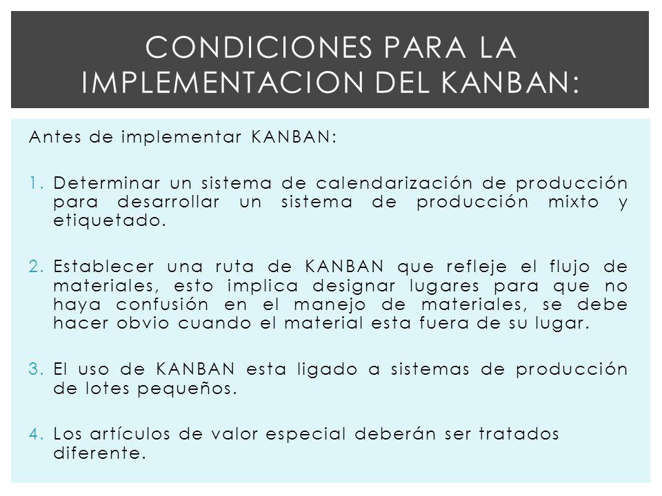 Condiciones para la Implementacion del kanban: