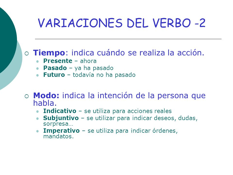 VARIACIONES DEL VERBO -2