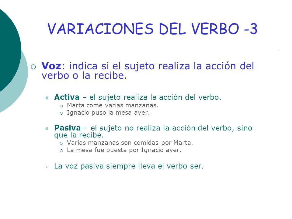 VARIACIONES DEL VERBO -3
