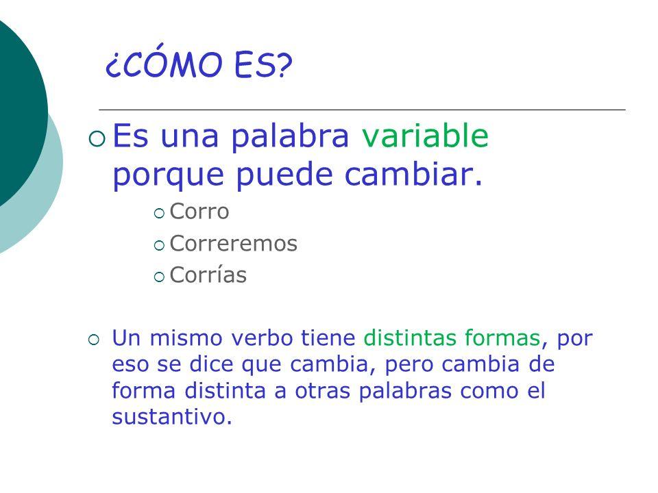 ¿CÓMO ES Es una palabra variable porque puede cambiar. Corro