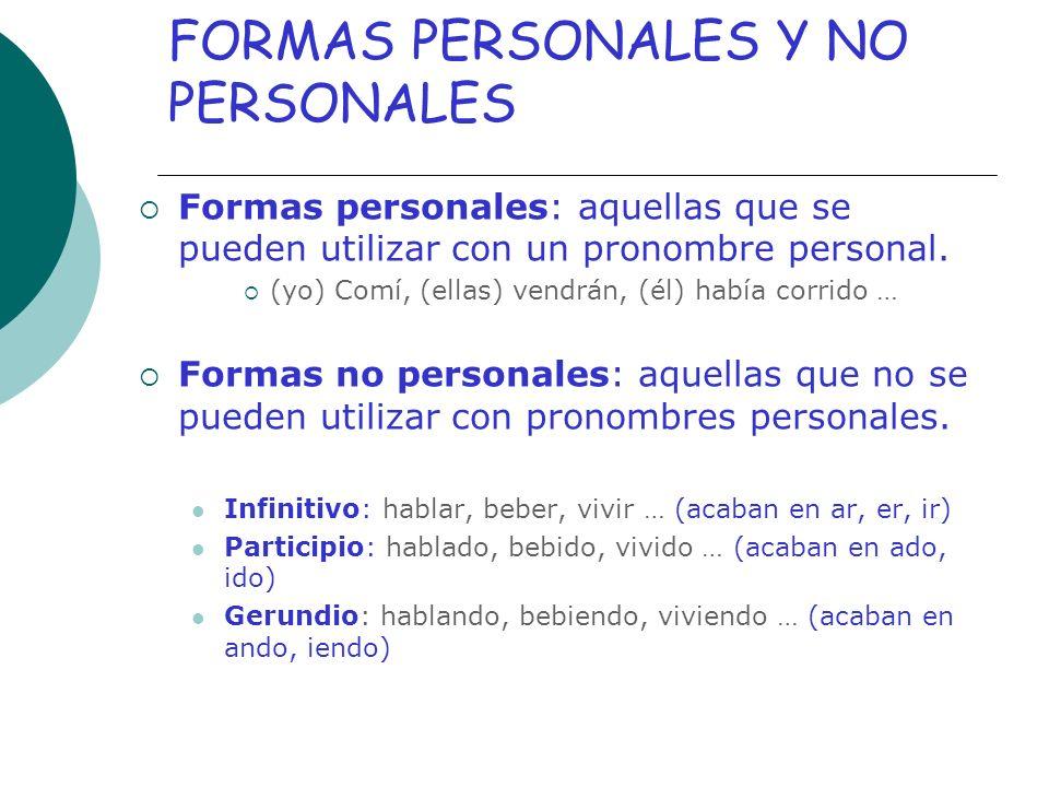 FORMAS PERSONALES Y NO PERSONALES
