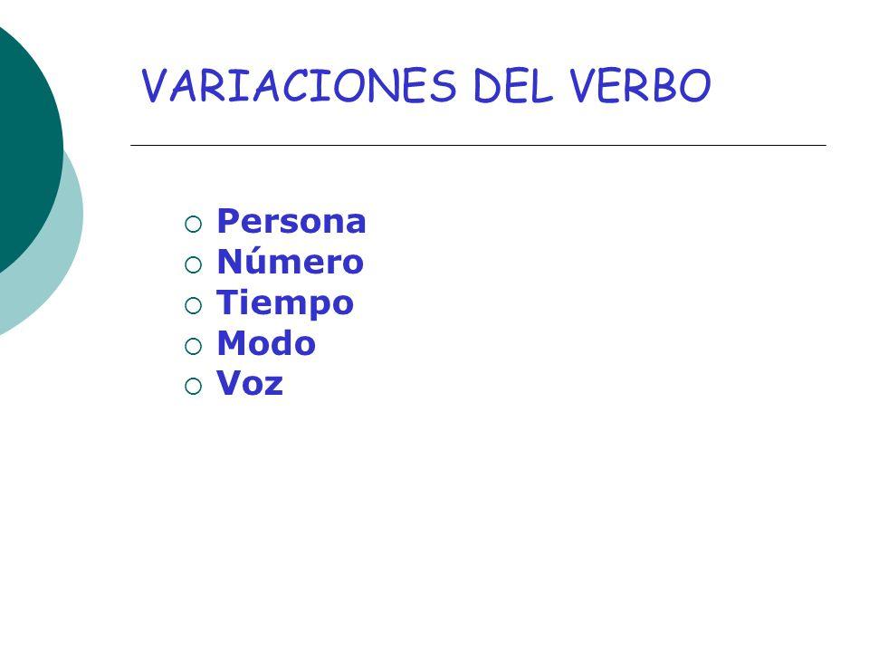 VARIACIONES DEL VERBO Persona Número Tiempo Modo Voz