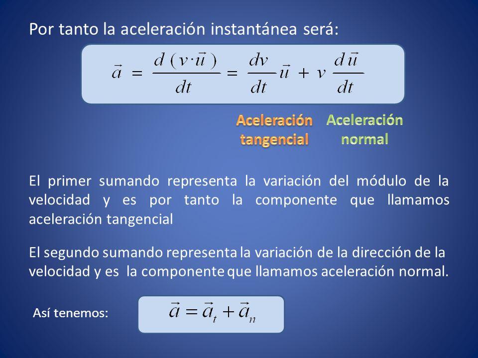Por tanto la aceleración instantánea será: